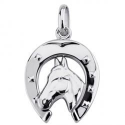 Pendentif tête de cheval relief - argent