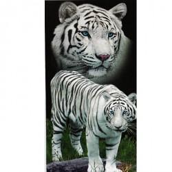Grand Drap de plage Tigres blancs 150 x 200