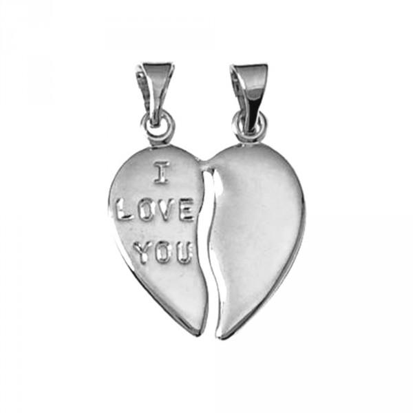 Pendentif Coeur sécable argent - Love