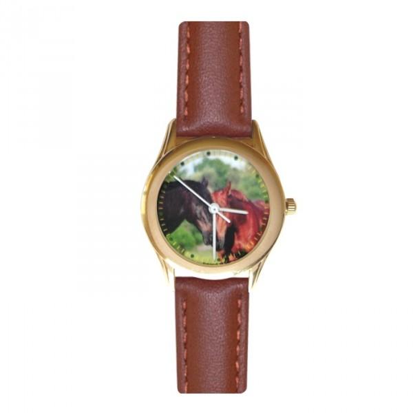 Montre cheval noir - dorée bracelet marron