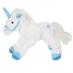 Peluche licorne blanche et bleu 42 cm