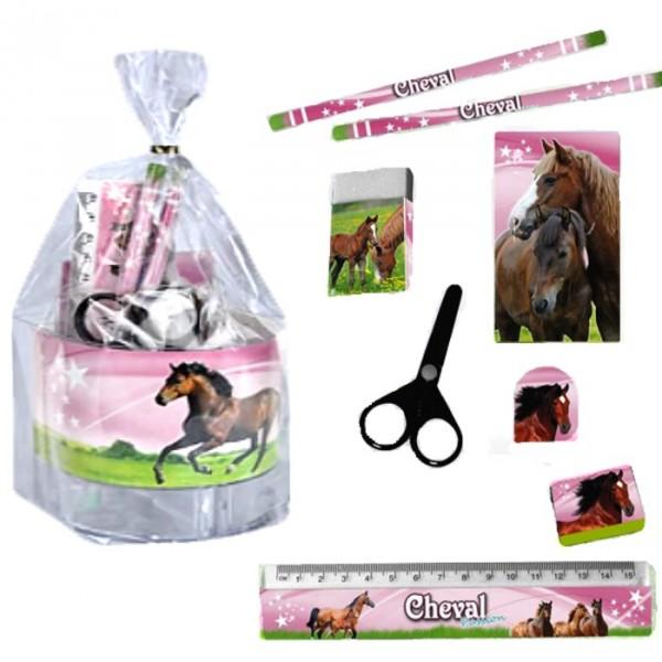 Set de bureau Cheval au galop rose Papeterie Cheval fille