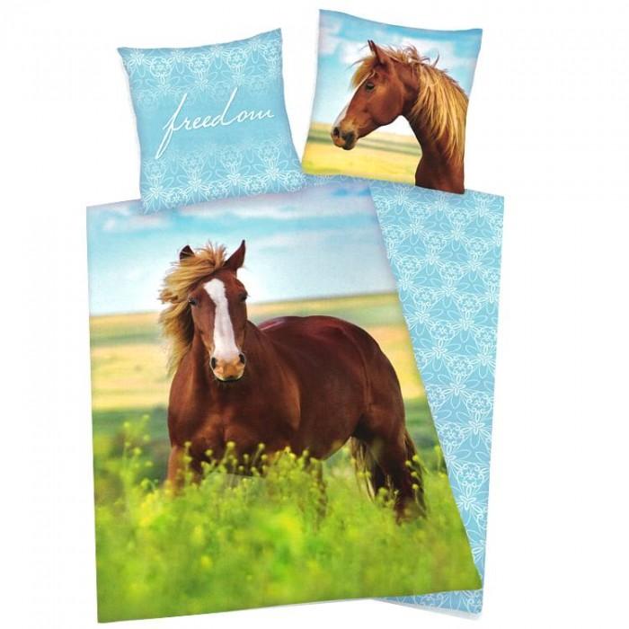 Housse de couette cheval au pr et sa taie d 39 oreiller for Housse couette cheval