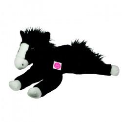 Peluche Cheval noir couché - 53 cm