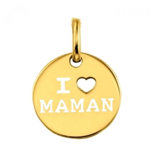 Pendentif I love maman plaqué or et chaîne