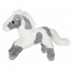 Peluche Cheval sonore blanc et gris 40 cm