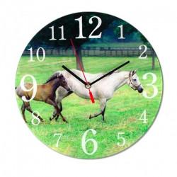 Horloge Chevaux dans la prairie