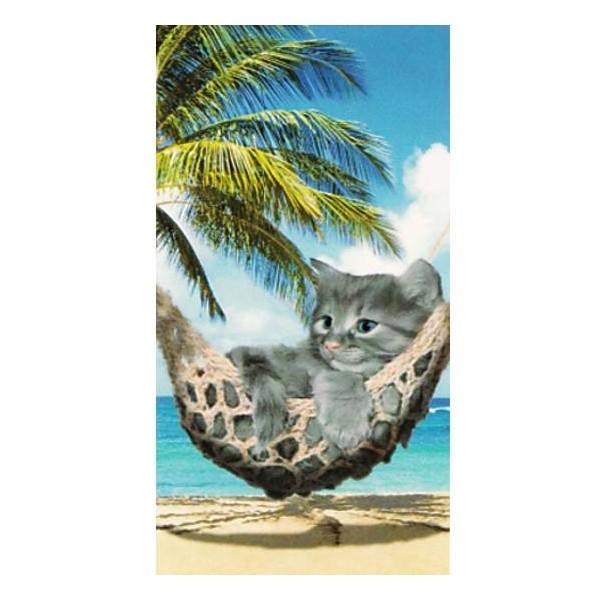 Serviette de plage Chat dans hamac