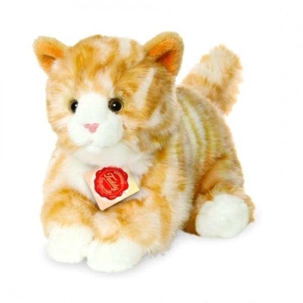 Peluche chat roux et blanc - 24 cm