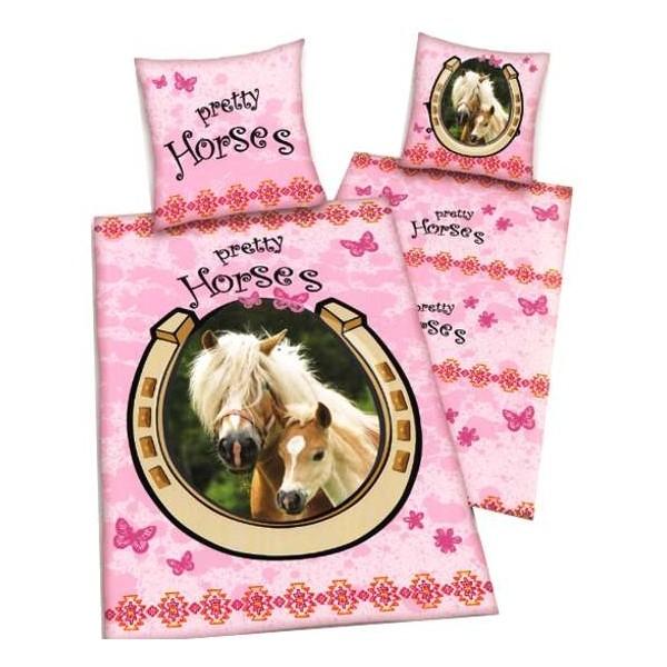 Housse de couette cheval rose pretty horse et sa taie d - Housse de couette cheval ...