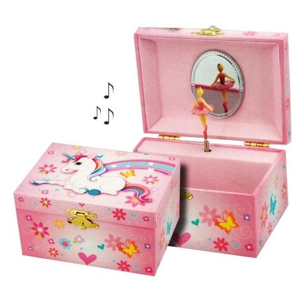 Boite à bijoux musicale enfant Licorne arc en ciel