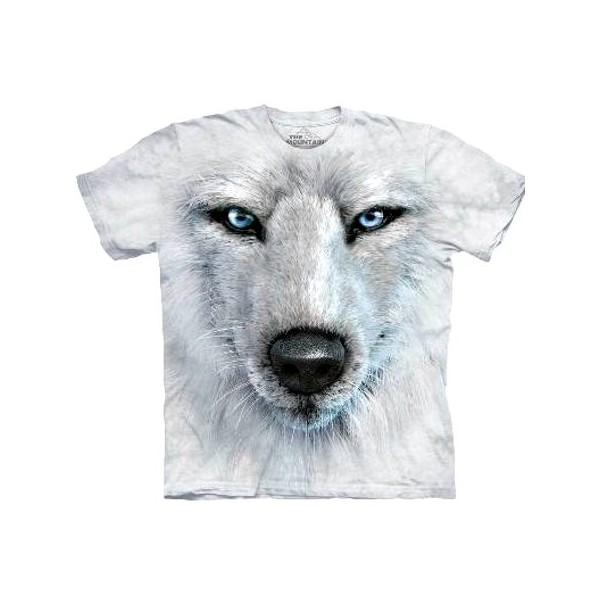 Tee shirt Portrait de loup blanc