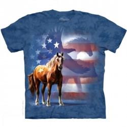 Tee shirt Cheval bannière américaine