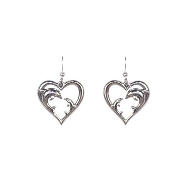 Boucles d'oreilles coeur et dauphin
