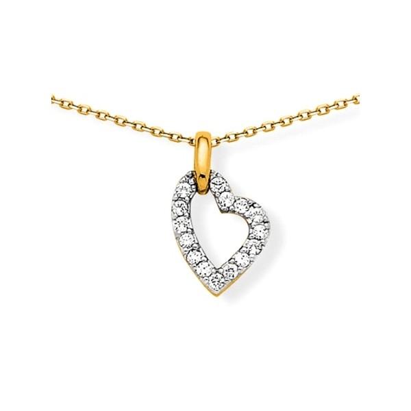 Collier coeur diamanté - plaqué or et oz