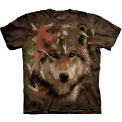 Tee shirt Loup en Automne - Taille S