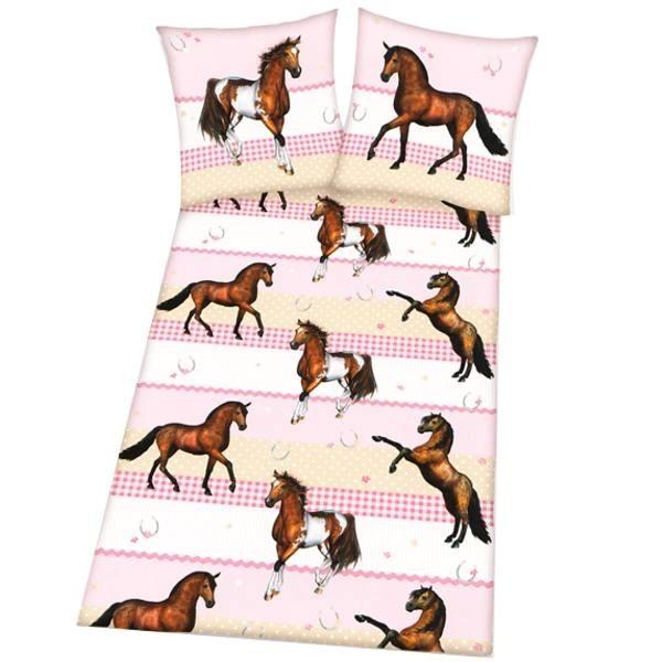 Housse de couette chevaux marron et pie