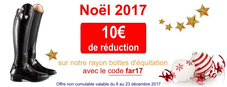 Code promotion sur les bottes d'équitation pour Noel 2017.